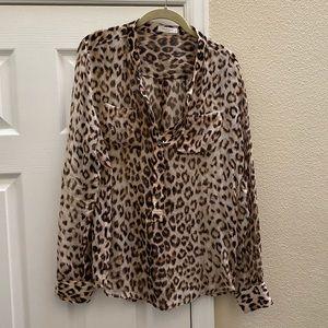 Equipment Leopard Animal Print 100% Silk Blouse